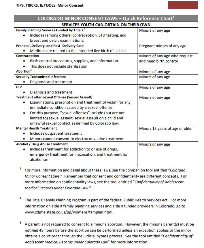 colorado minor consent laws chart